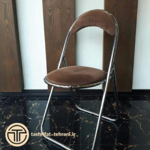 صندلی فلزی قهوه ای